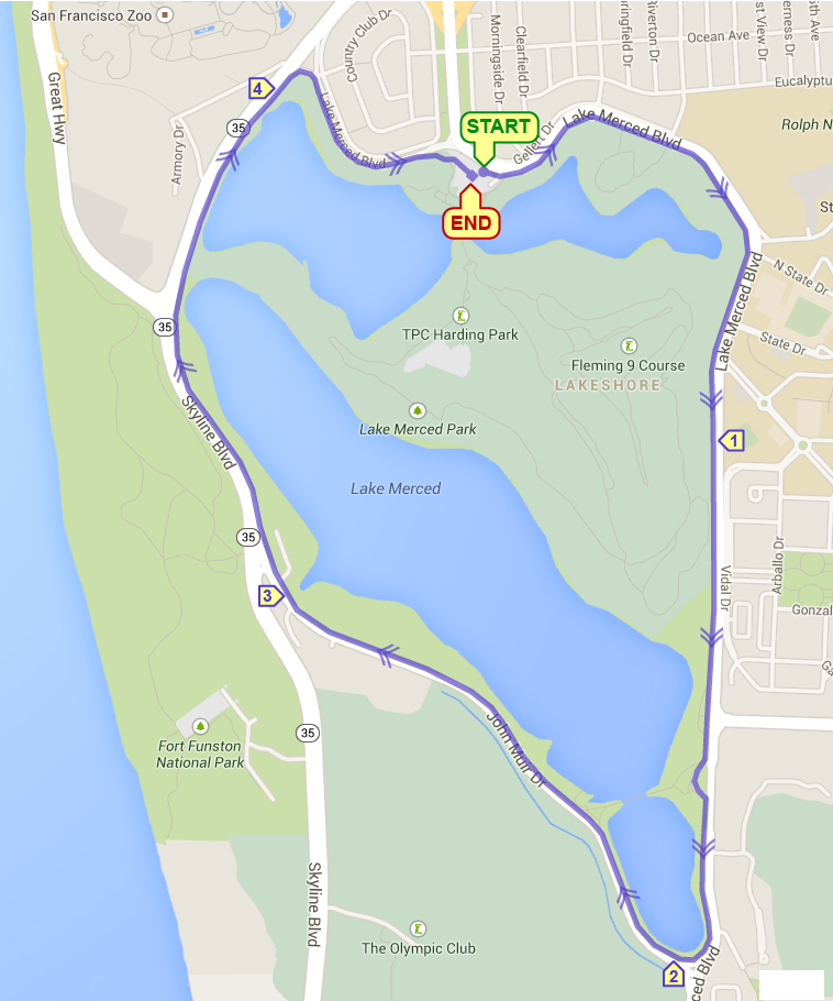 Course Map for Lake Merced Single Loop