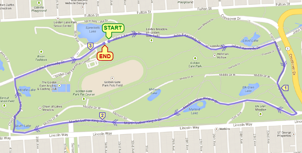 Spreckels Lake 5K Course Map
