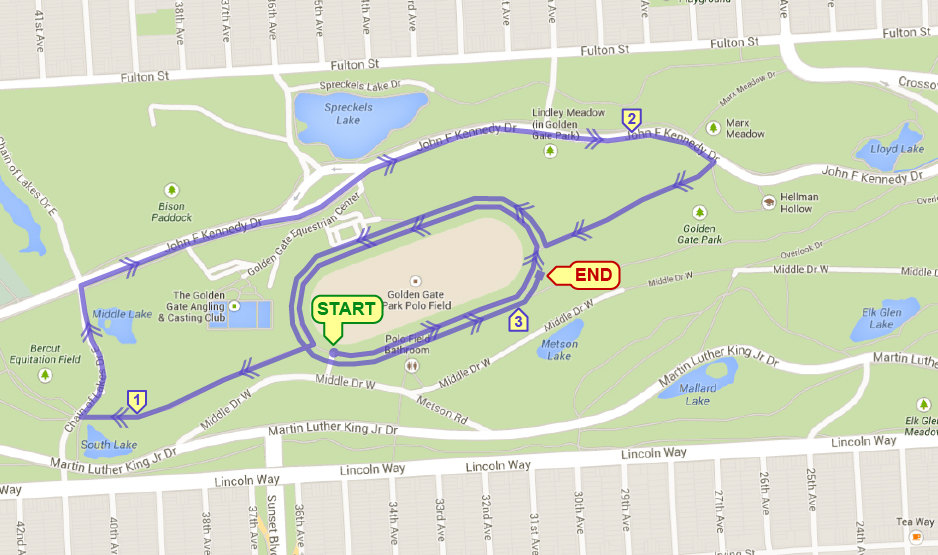 Golden Gate Park XC 5K Course Map
