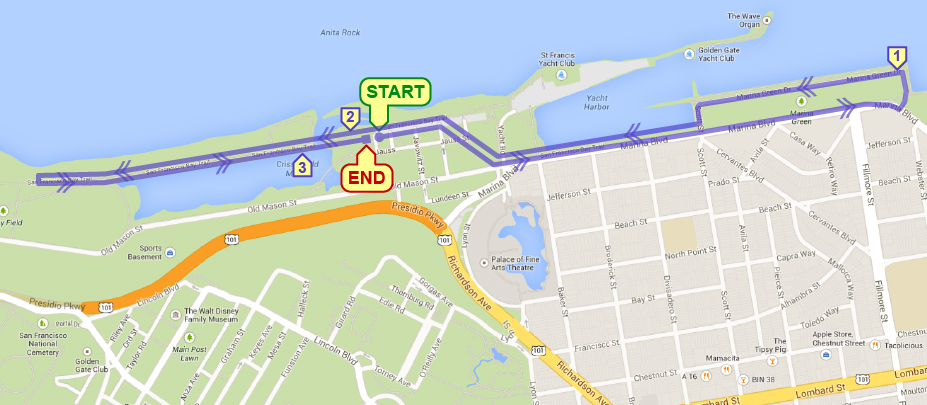 Marina Green 5K Course Map