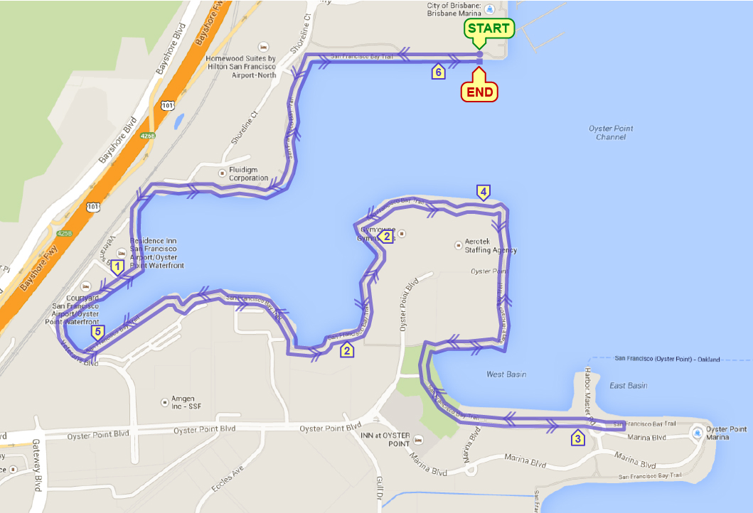Course Map of Oyster Point 10k